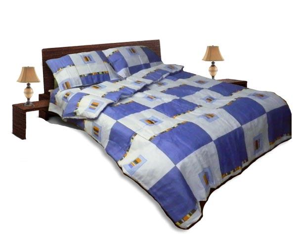 Олекотен спален комплект - Памук - Син - приста
