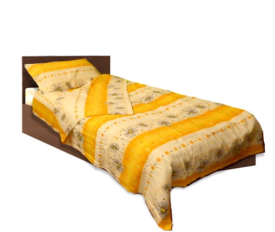 Спално бельо комплект - Крепон- Жълт- единичен